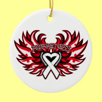 Lung Cancer Awareness Heart Wings Double-Sided Ceramic Round Christmas Ornament