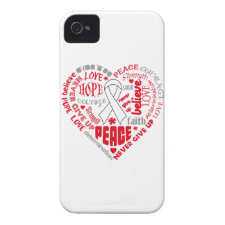 Lung Cancer Awareness Heart Words iPhone 4 Cover