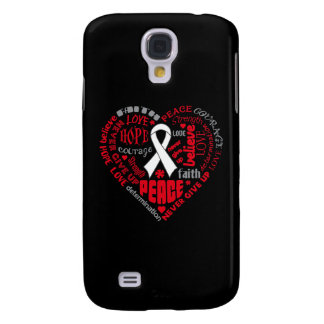 Lung Cancer Awareness Heart Words Galaxy S4 Cases