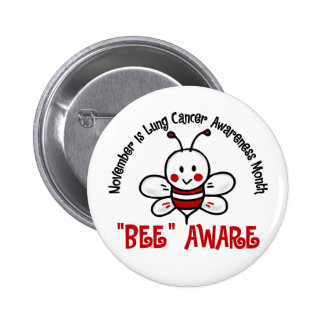 Lung Cancer Awareness Month Bee 1.2 2 Inch Round Button