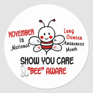 Lung Cancer Awareness Month Bee 1.2 Classic Round Sticker
