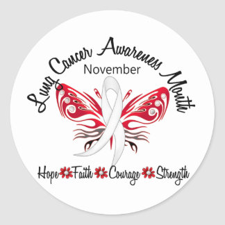 Lung Cancer Awareness Month Butterfly 3.2 Classic Round Sticker