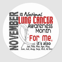 Lung Cancer Awareness Month Every Month For ME Classic Round Sticker