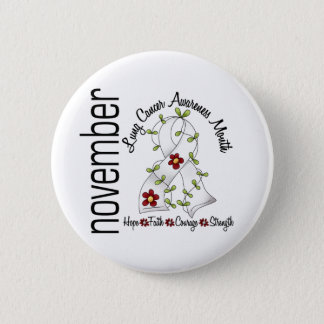 Lung Cancer Awareness Month Flower Ribbon 1 Button