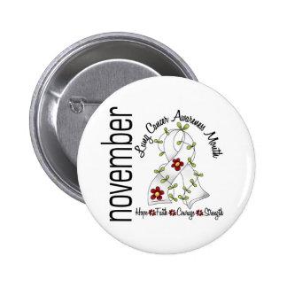 Lung Cancer Awareness Month Flower Ribbon 1 Button