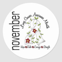 Lung Cancer Awareness Month Flower Ribbon 1 Classic Round Sticker