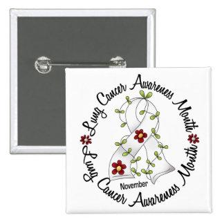Lung Cancer Awareness Month Flower Ribbon 3 Button