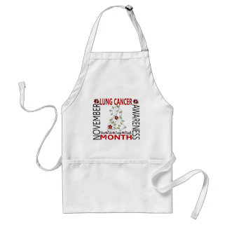Lung Cancer Awareness Month Flower Ribbon 4 Apron