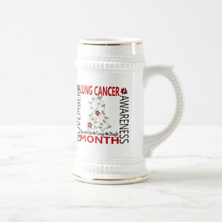 Lung Cancer Awareness Month Flower Ribbon 4 Coffee Mugs
