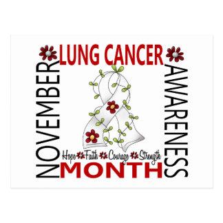 Lung Cancer Awareness Month Flower Ribbon 4 Postcard
