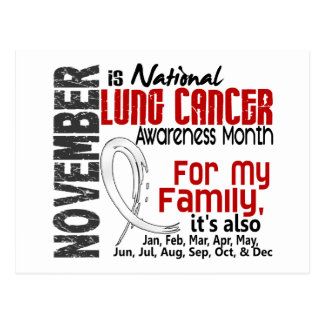 Lung Cancer Awareness Month For My Family Postcard