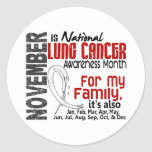 Lung Cancer Awareness Month For My Family Round Stickers