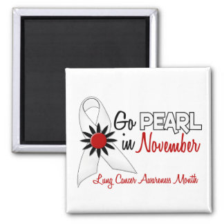 Lung Cancer Awareness Month Pearl Ribbon 1.2 2 Inch Square Magnet
