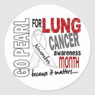 Lung Cancer Awareness Month Pearl Ribbon 1.4 Classic Round Sticker