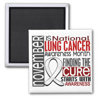 Lung Cancer Awareness Month Pearl Ribbon I2.5 2 Inch Square Magnet