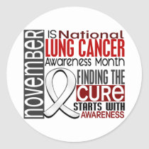 Lung Cancer Awareness Month Pearl Ribbon I2.5 Classic Round Sticker