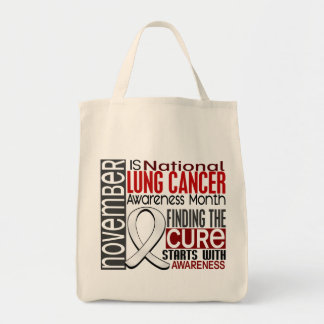 Lung Cancer Awareness Month Pearl Ribbon I2.5 Grocery Tote Bag