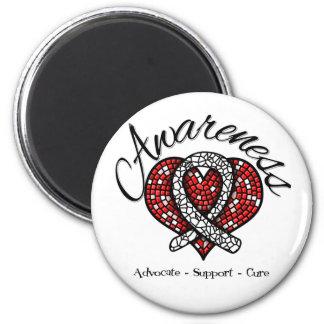 Lung Cancer Awareness Mosaic Heart Refrigerator Magnet
