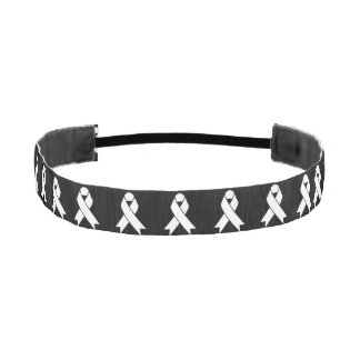 Lung Cancer Awareness Pearl-White Ribbon Athletic Headband