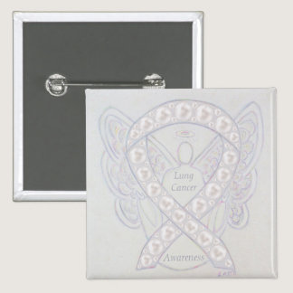 Lung Cancer Awareness Ribbon Angel Art Pins
