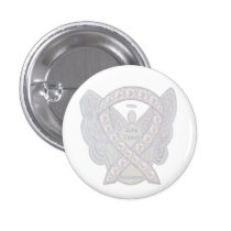 Lung Cancer Awareness Ribbon Angel Button Pins