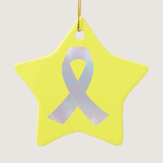 Lung Cancer Awareness Ribbon Ceramic Ornament