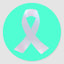 Lung Cancer Awareness Ribbon Classic Round Sticker