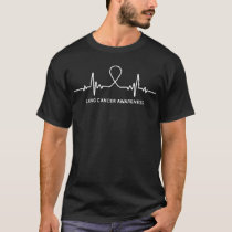 Lung Cancer Awareness Ribbon Heartbeat T-shirt Tee
