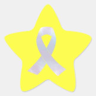 Lung Cancer Awareness Ribbon Star Sticker