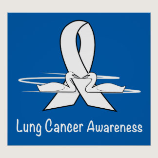Lung Cancer Awareness Ribbon with Swans Poster