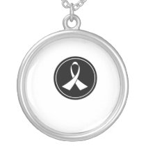 Lung Cancer Awareness Silver Plated Necklace