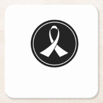 Lung Cancer Awareness Square Paper Coaster