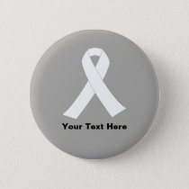 Lung Cancer Awareness White Ribbon Button