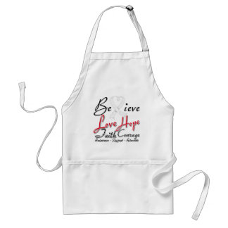 Lung Cancer Believe Heart Collage Apron