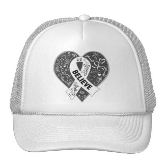 Lung Cancer Believe Ribbon Heart Trucker Hat