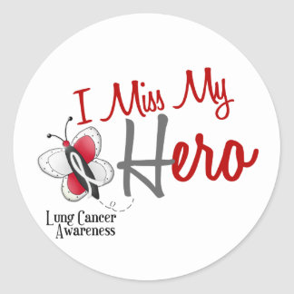 Lung Cancer Butterfly 2 I Miss My Hero Stickers