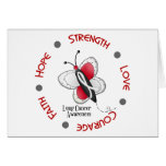 Lung Cancer Butterfly 2 Inspirational Circle Greeting Cards
