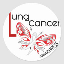 Lung Cancer BUTTERFLY 3.1 Classic Round Sticker