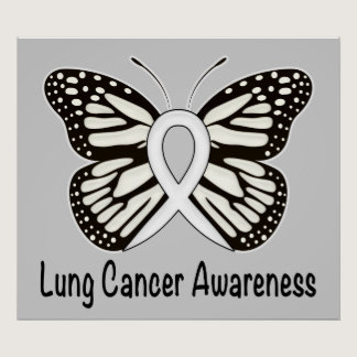 Lung Cancer Butterfly Awareness Ribbon Poster