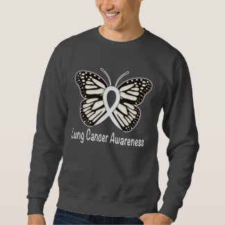 Lung Cancer Butterfly Awareness Ribbon Sweatshirt