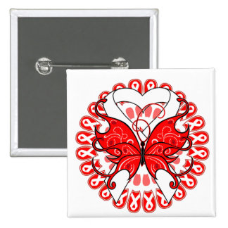 Lung Cancer Butterfly Circle of Ribbons 2 Inch Square Button
