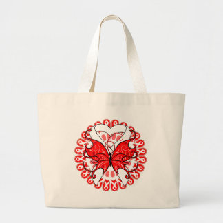 Lung Cancer Butterfly Circle of Ribbons Jumbo Tote Bag