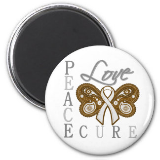 Lung Cancer Butterfly Peace Love Cure Fridge Magnet