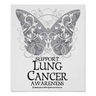 Lung Cancer Butterfly Poster