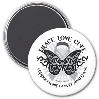 Lung Cancer Butterfly Tribal Refrigerator Magnets