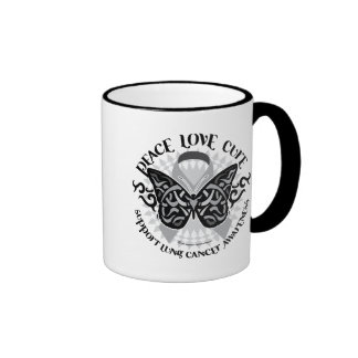 Lung Cancer Butterfly Tribal Coffee Mugs
