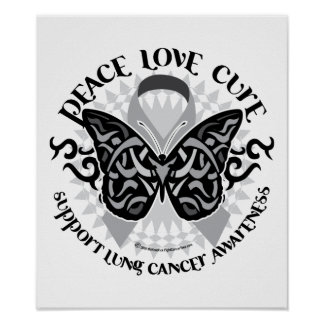 Lung Cancer Butterfly Tribal Posters