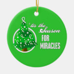 Lung Cancer Christmas Miracles Double-Sided Ceramic Round Christmas Ornament