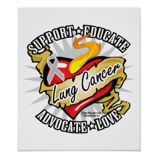 Lung Cancer Classic Heart Poster
