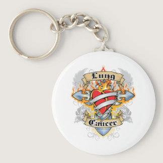 Lung Cancer Cross & Heart Keychain